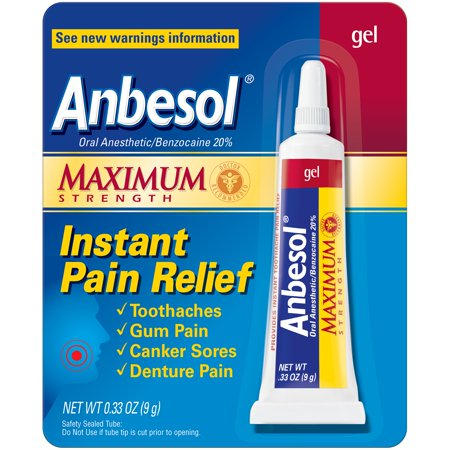 - Anbesol Oral Anesthetic Maximum Strength Instant Pain Relief Gel, 0.33 Oz