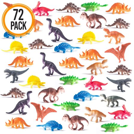 Prextex Box of Mini Dinosaurs (72 Count) Best for Cake Toppers Easter Eggs