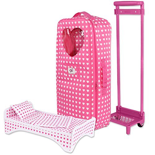 Doll Travel Carrier Trolley With Bed and Accessories For American Girl , My life doll & Other 18 Inch Dolls