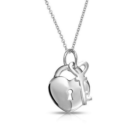 Love Sterling Silver Charms Pendants (Simple 2 Charm Love Lock And Key Heart Pendant Necklace For Women For Teen 925 Sterling Silver 16 Inch )