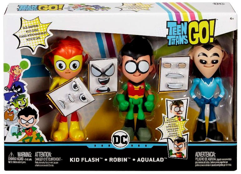 Teen Titans Face-Swappers Kid Flash, Robin & Aqualad Figure 3-Pack by