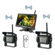 """7"""" with Monitor Wireless Dual Backup Cameras Parking Assistance Night Vision Waterproof Rear View Camera for RV Truck Trailer Bus"""