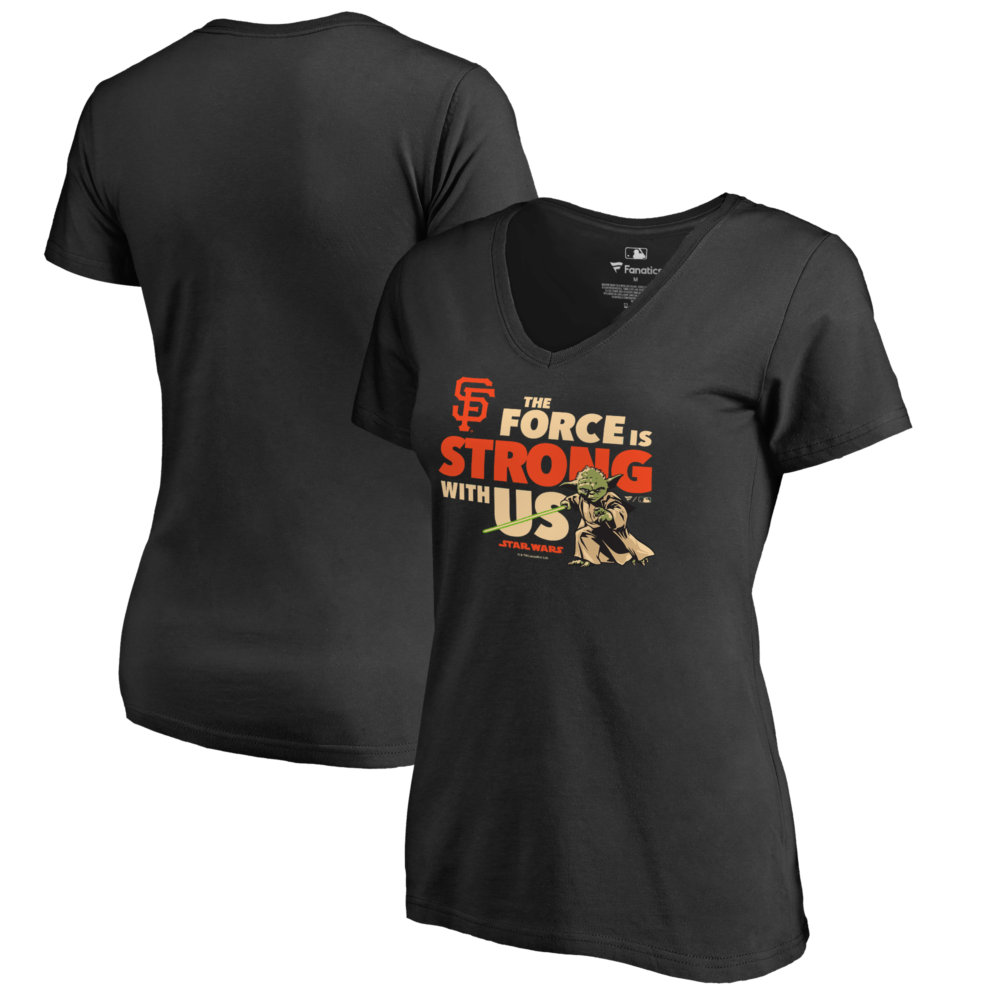 San Francisco Giants Fanatics Branded Women's Star Wars Jedi Strong V-Neck T-Shirt - Black