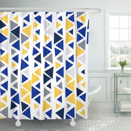 KSADK Triangle Geometric Abstract for Site Winter Mod Color Palette Platinum Silver Shower Curtain Bath Curtain 66x72 inch