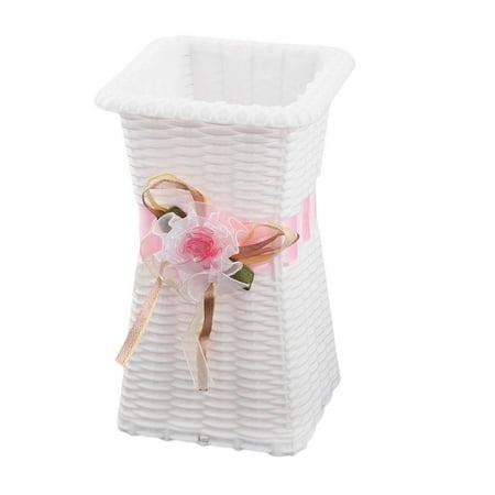 Dormitory Plastic Handmade Artwork Artificial Plant Flower Vase Holder Pink - image 4 de 4