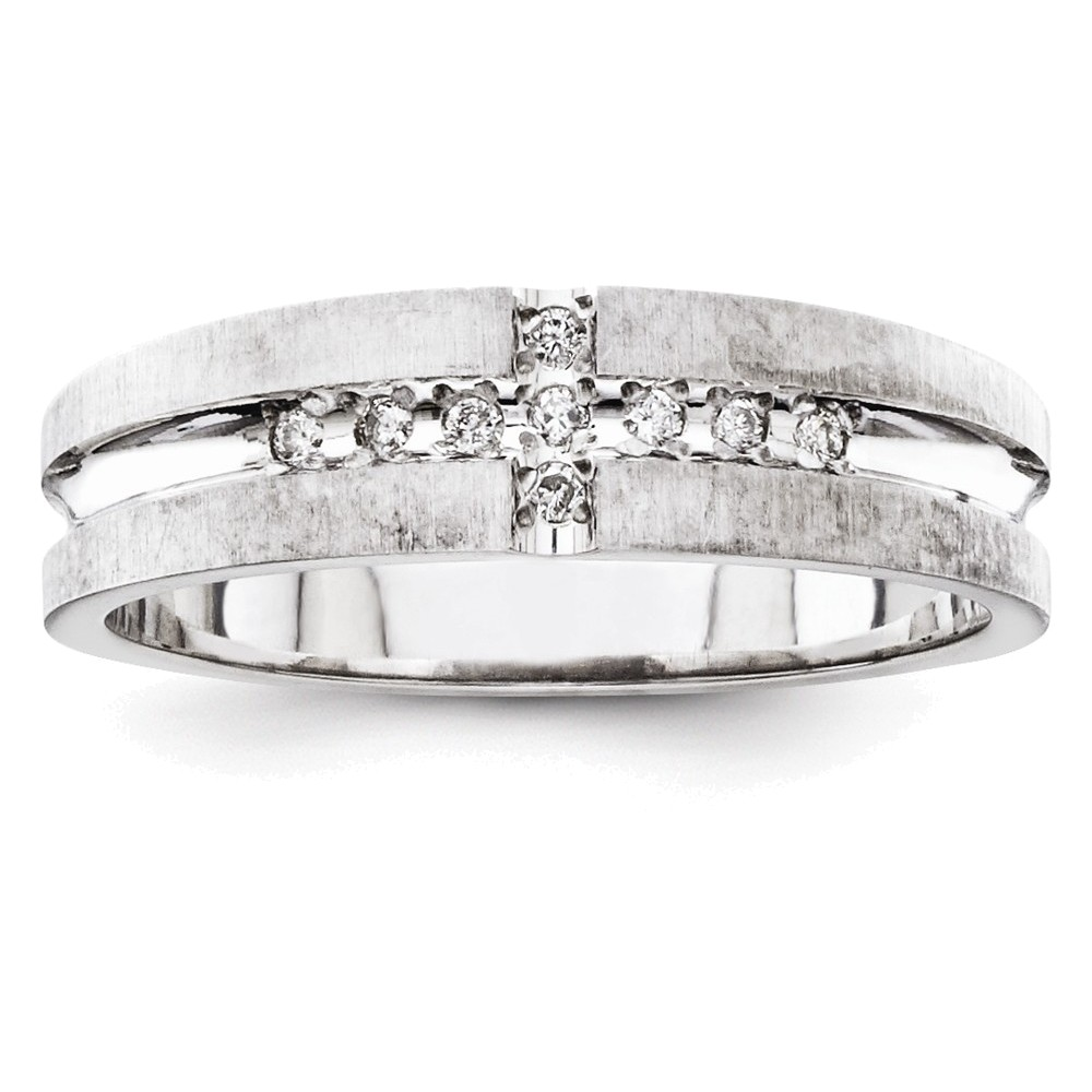 14k White Gold AA Quality Trio Mens Wedding Band