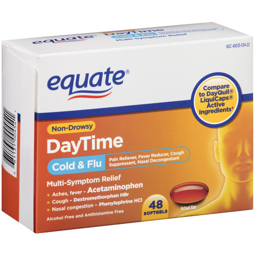 Equate DayTime Cold & Flu Multi-Symptom Relief Softgels, 48 count