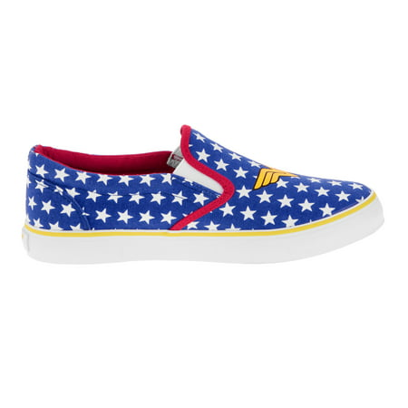 Wonder Woman Womens' Canvas Slip-On Sneaker - Halloween Shoes For Women