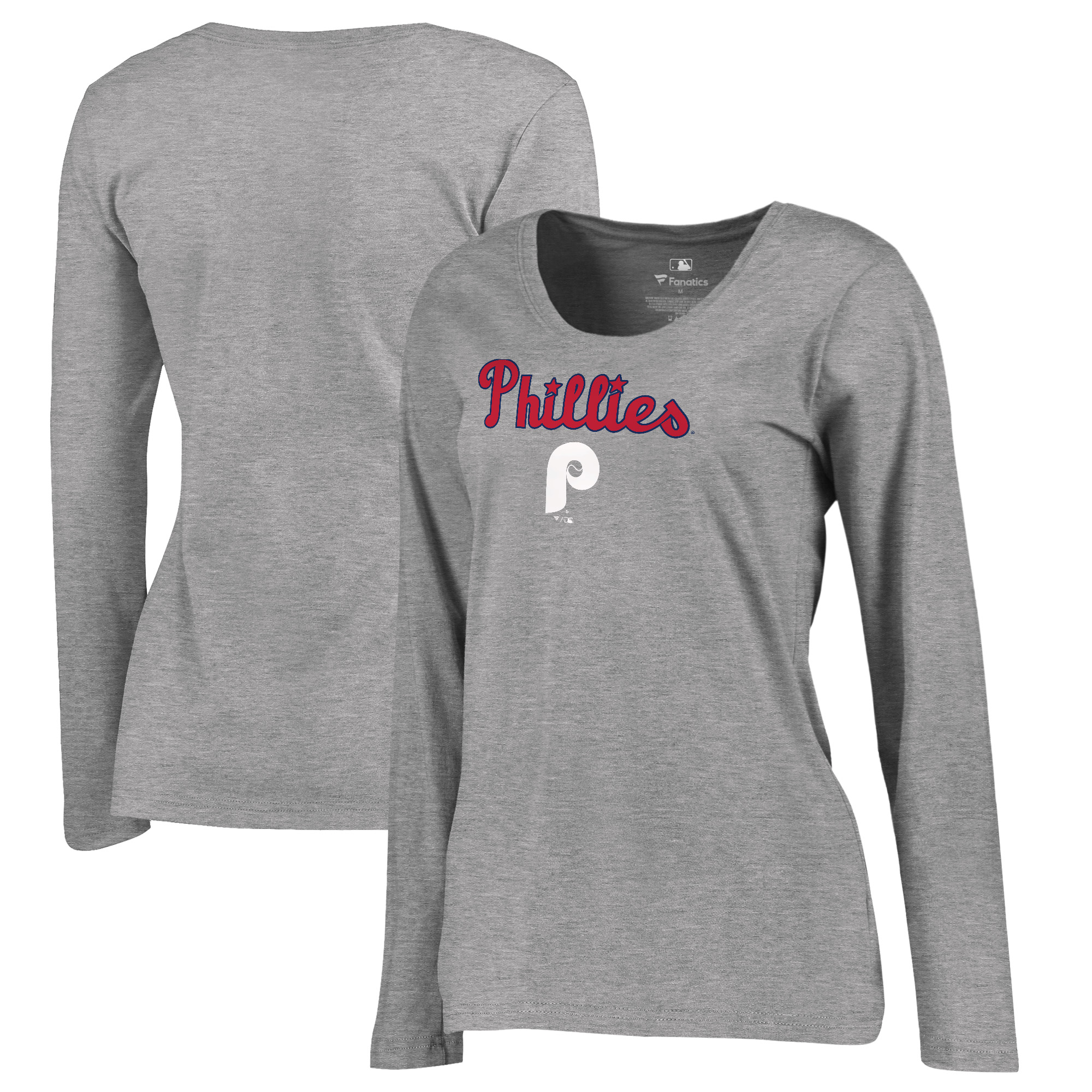 Philadelphia Phillies Fanatics Branded Women's Plus Size Cooperstown Collection Wahconah Long Sleeve T-Shirt - Heathered Gray