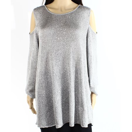 ALFANI Womens Silver Cut Out  Sequined Long Sleeve Jewel Neck Party Top  Size: M