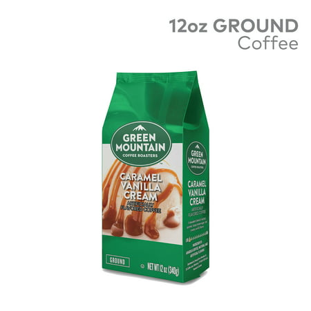 - Green Mountain Coffee Roasters, Caramel Vanilla Cream, Ground Flavored Coffee, Light Roast, Bagged 12oz.