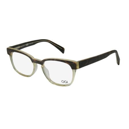 New Ogi 3112 Mens/Womens Designer Full-Rim Horn Tortoise / Transparent Light Yellow Contemporary Must Have Stylish Sleek Frame Demo Lenses 53-20-145 (Stylish Mens Frames)