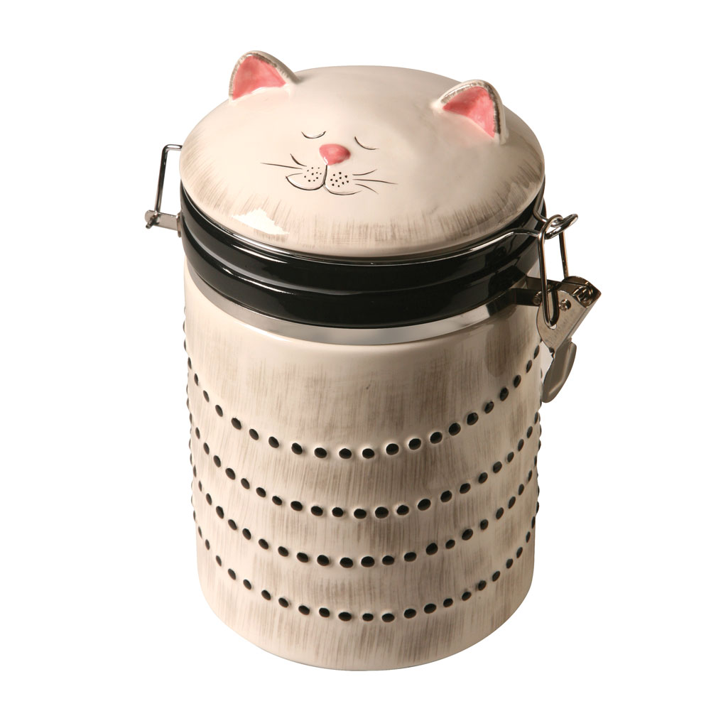 Click here to buy Ceramic Cat Treat Cookie Jar Sealable Kitchen Canister.