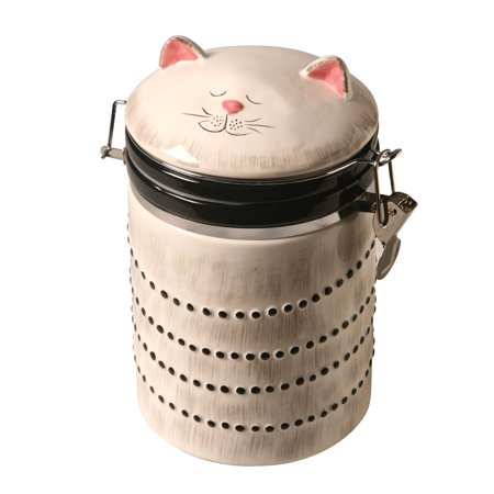 Ceramic Cat Treat Cookie Jar - Sealable Kitchen Canister (Ceramic Apple Cookie Jar)