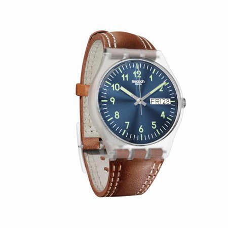 - Swatch Unisex Windy Dune 34mm Brown Leather Band Plastic Case Swiss Quartz Blue Dial Analog Watch GE709