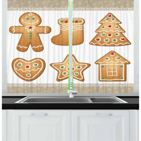 Gingerbread Man Curtains 2 Panels Set, Cute Pastry Design Graphic Cookies in Different Shapes Tasty Sweet Goodies, Window Drapes for Living Room Bedroom, 55W X 39L Inches, Multicolor, by Ambesonne ()
