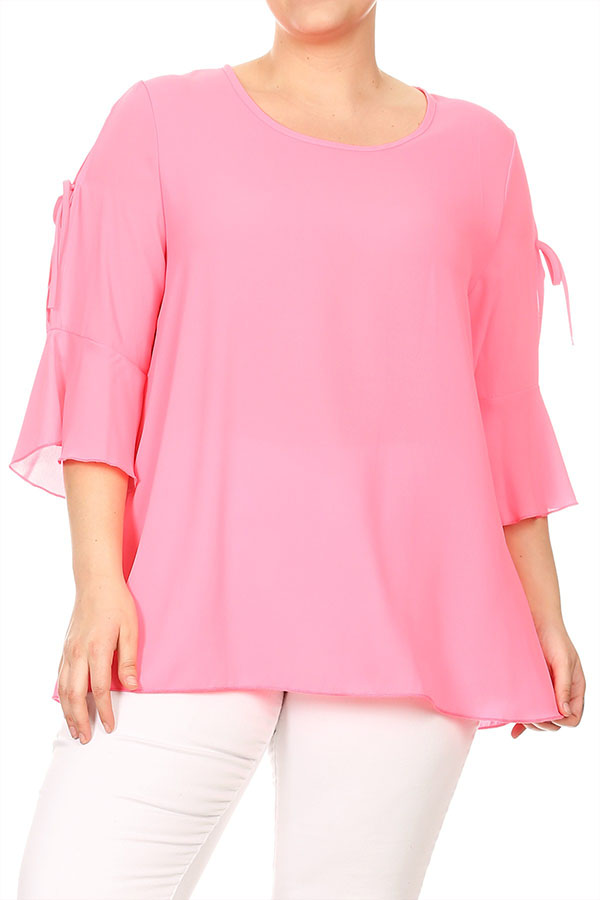 Women's Plus Size Solid Bell Sleeve Tunic Top