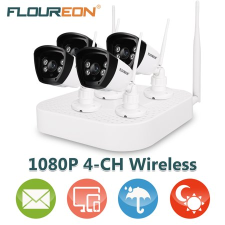 FLOUREON Wireless Security Camera System, 4CH Smart CCTV 1080P NVR System 1.0MP IP Security Cameras with Night Vision for Outdoor and Indoor