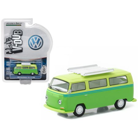 T2 Bus - 1968 Volkswagen Type 2 T2 Bus Green with Roof Rack 1/64 Diecast Model Car  by Greenlight