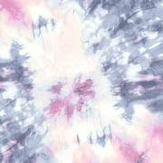 Denim Pink Tie Dye Pattern Printed on Hi-Multi Chiffon Washed Fabric
