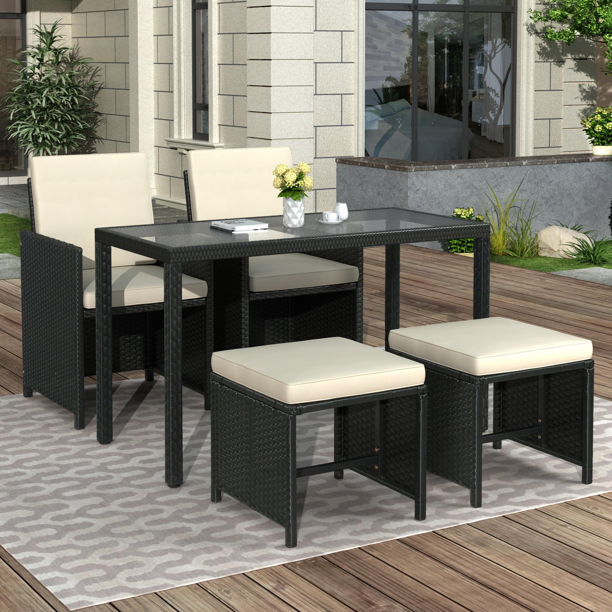 enyopro 5 Piece Patio Furniture Dining Set, Outdoor Rattan ...