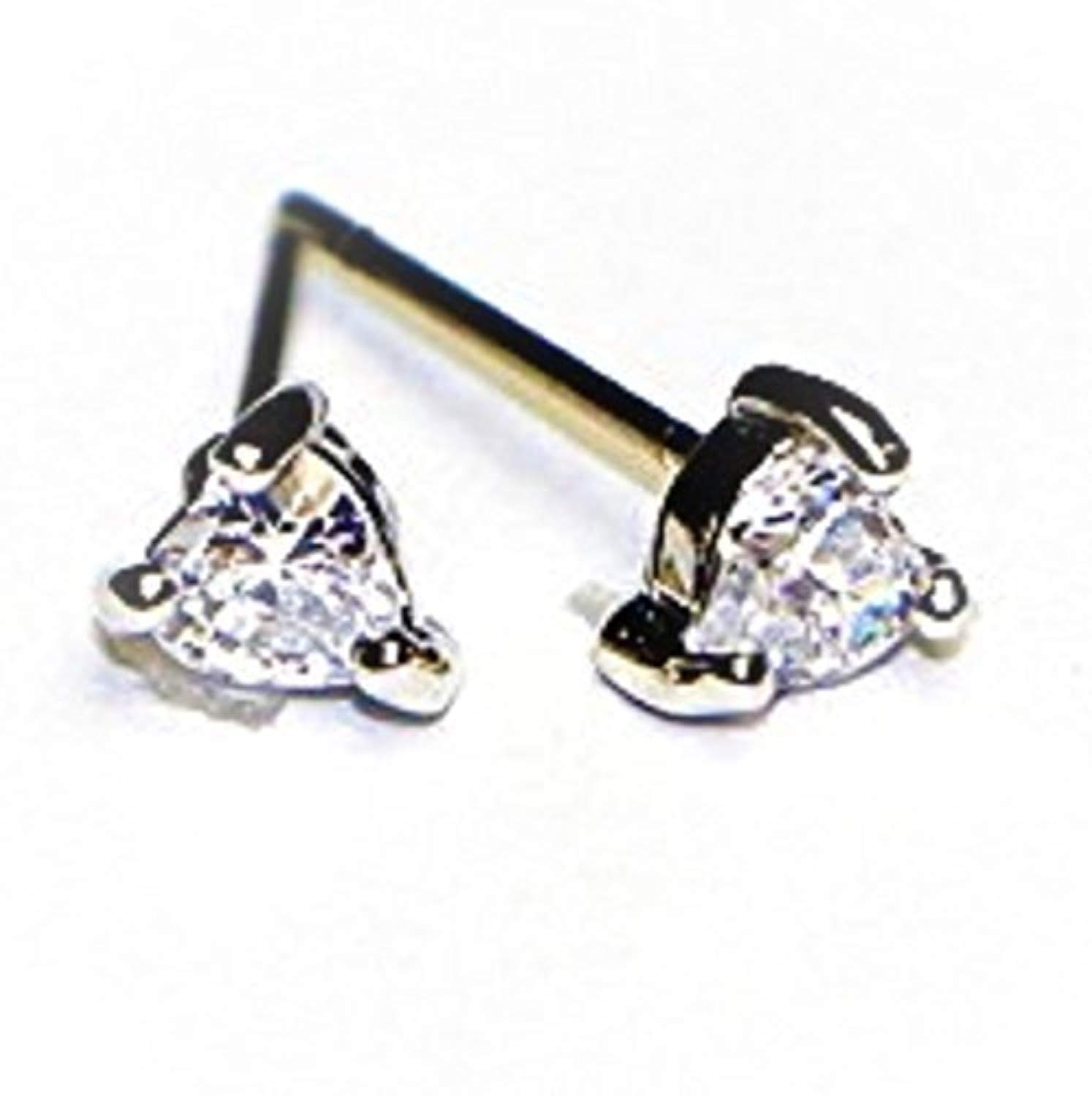 Buyless Fashion Surgical Steel Rhodium Plated Heart Shape Cubic Zirconia Birthstone Earrings