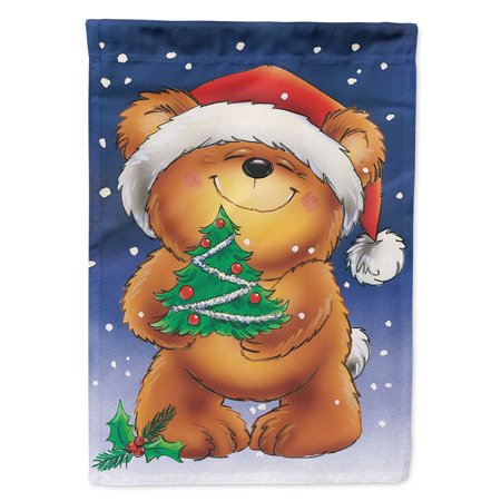Teddy Bear and Christmas Tree Flag Canvas House Size ()