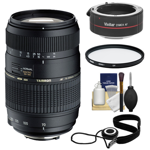 Tamron 70-300mm Di LD Macro Zoom Lens with Hood 2x Teleco...