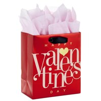 """Hallmark 6"""" Small Valentine's Day Gift Bag with Tissue Paper (Red Happy Valentine's Day, Gold Heart)"""