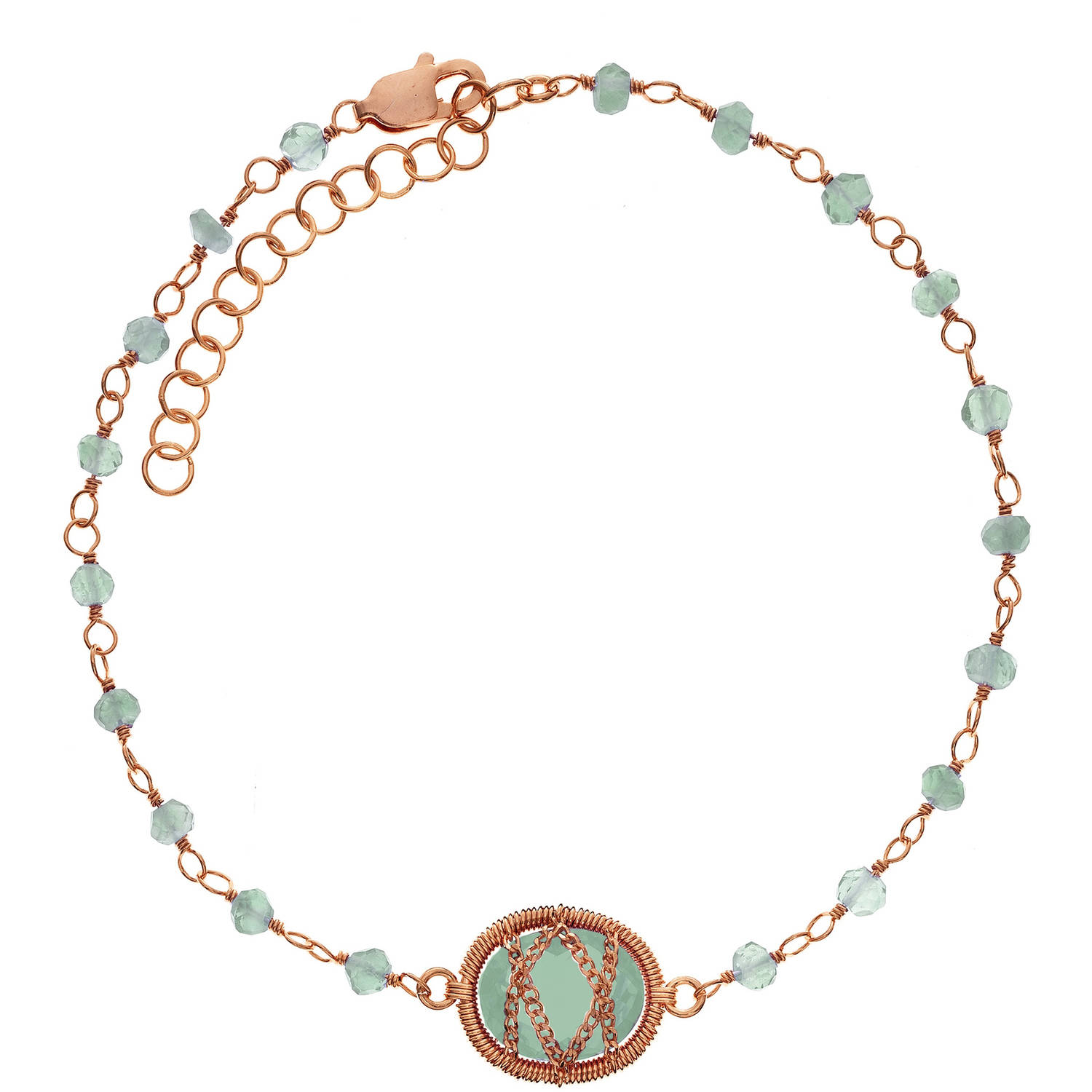5th & Main Rose Gold over Sterling Silver Hand-Wrapped Beaded Chalcedony Stone Bracelet by Generic