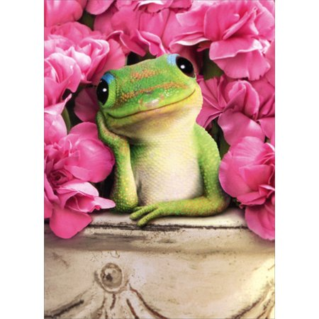 Avanti Press Gecko In Pot With Flowers Valentine's Day Card (Pot Of Flowers Halloween)