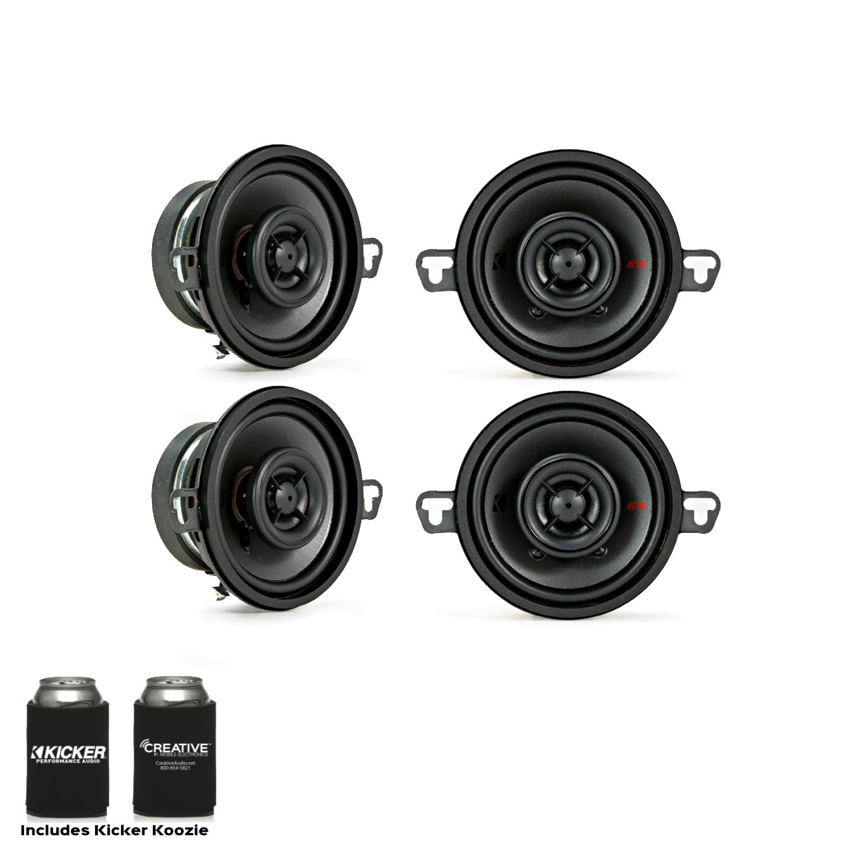 Kicker Speaker Bundle - Two pairs of Kicker 3.5 Inch KS-Series Speakers 44KSC3504