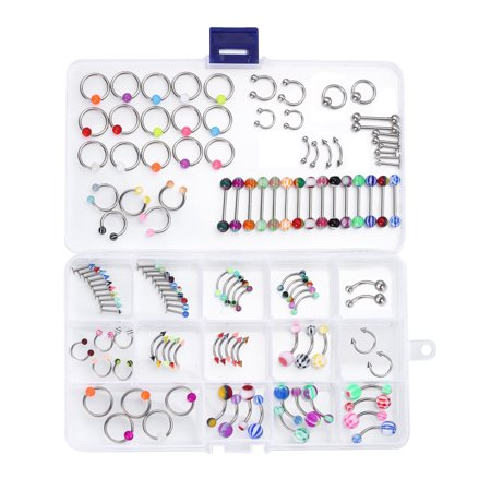Gem Eyebrow Rings Body Jewelry - Body Piercing Kit Mix Lot in Case Jewelry Belly Ring Labret Tongue Eyebrow Tragus 120 Pieces
