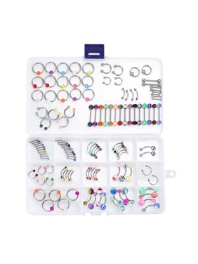 Body Piercing Kit Mix Lot in Case Jewelry Belly Ring Labret Tongue Eyebrow Tragus 120 Pieces