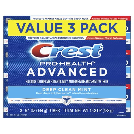 Crest Pro-Health Advanced Deep Clean Mint Toothpaste, 5.1 oz, Pack of 3