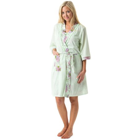 fee2a7f0c75c Casual Nights - Casual Nights Women s Sleepwear 2 Piece Nightgown and Robe  Set - Green - Walmart.com