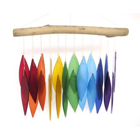Blue Handworks Glass Wind Chime, Over The Rainbow ()