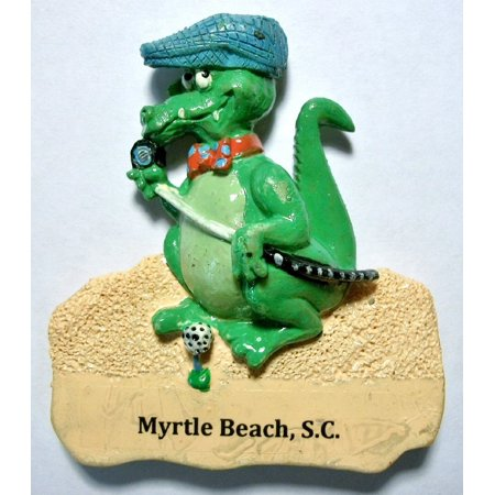 Myrtle Beach Golf Charm (Myrtle Beach SC Alligator with Golf Club Fridge Magnet )