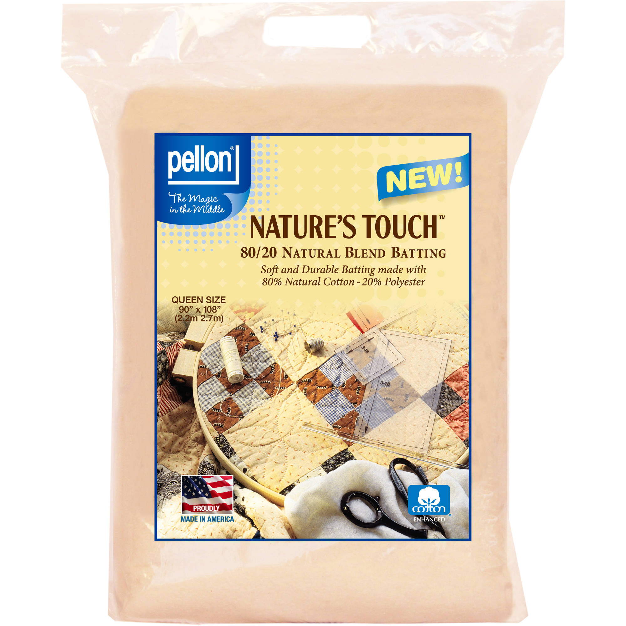 Pellon Nature's Touch Natural Blend 80/20 Packaged Batting, Queen Size