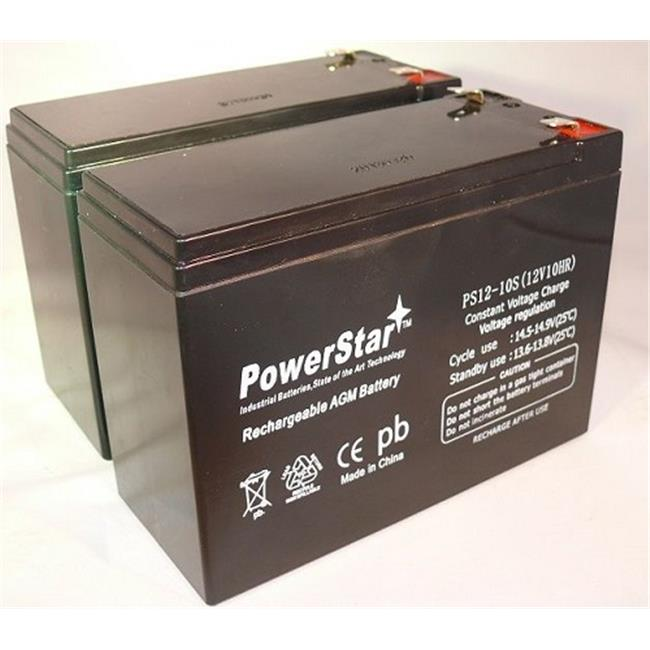 PowerStar PS12-10-2Pack-05 12V 10Ah Scooter Battery Replaces Gs Portalac Tph12100, Tph 12100