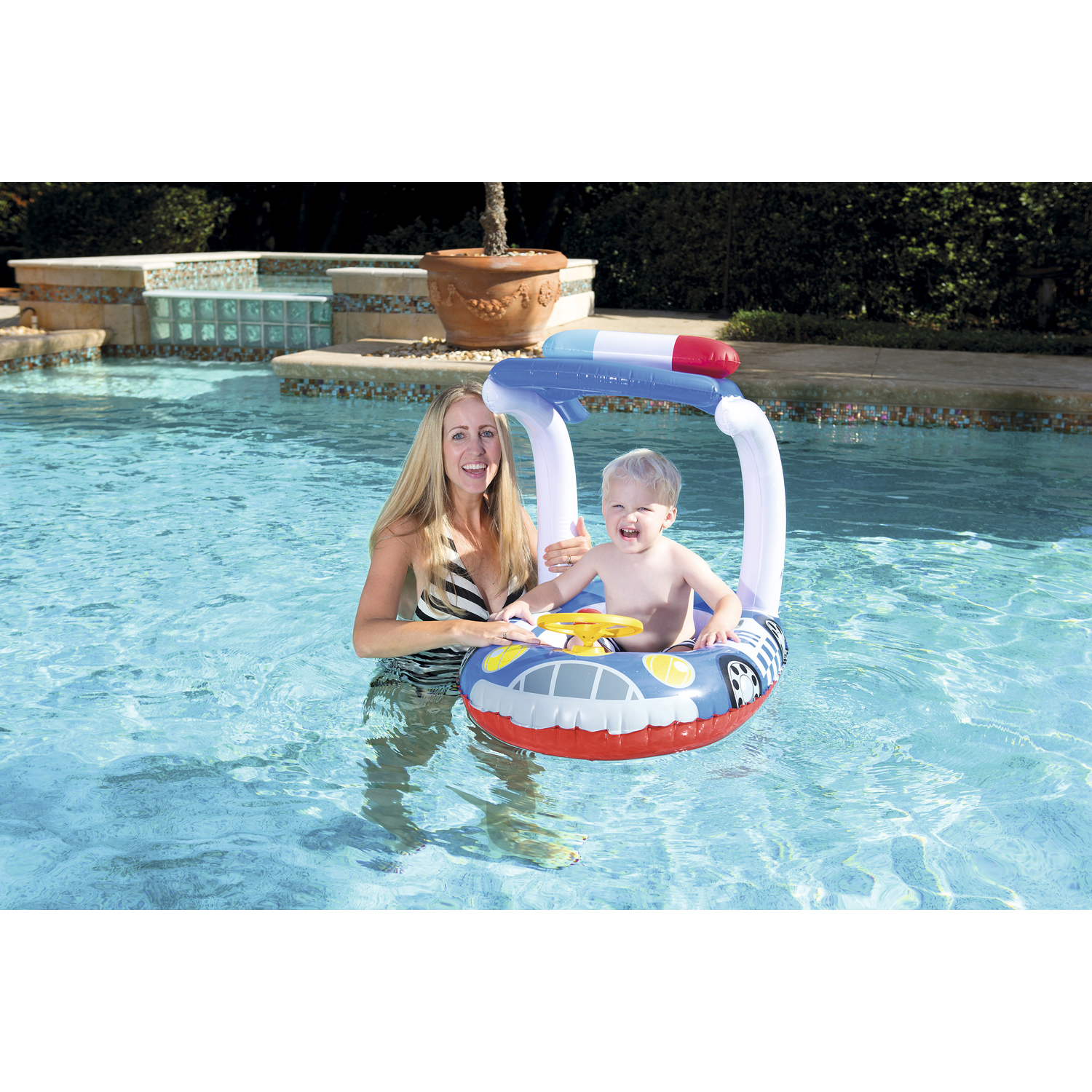 H2OGO! UV Careful Kiddie Car Inflatable Pool Float - Blue