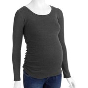 Maternity Essential Long Sleeve Tee with Flattering Side Ruching