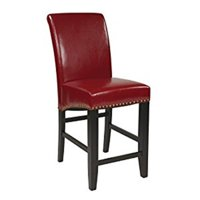 Bonded Leather Parson's Counter-Height Bar Stool with Nail Heads, 24-inch, Crimson Red