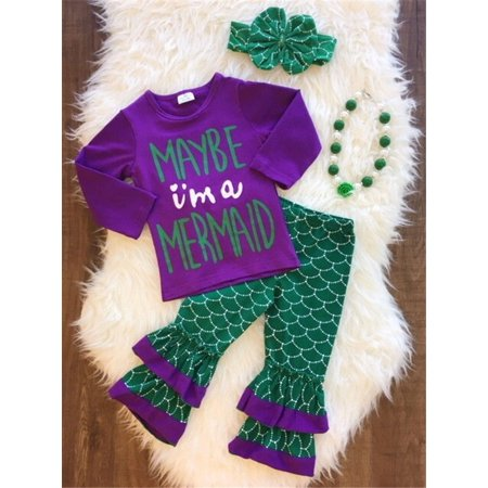 Toddler Kid Baby Girl Little Mermaid Costume Outfits Tops Pants Headband 3PCS](Baby Head Costume)