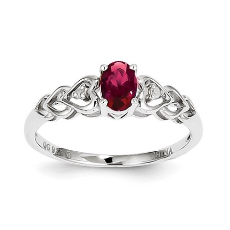 Roy Rose Jewelry Sterling Silver Created Ruby And Diamond Ring   Size 9