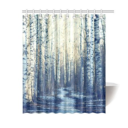 RYLABLUE Home Bathroom Winter White Fabric Birch Tree Decor Shower Curtain Hooks 60x72 Inches-Foggy Forest Road Curtains - image 3 of 3