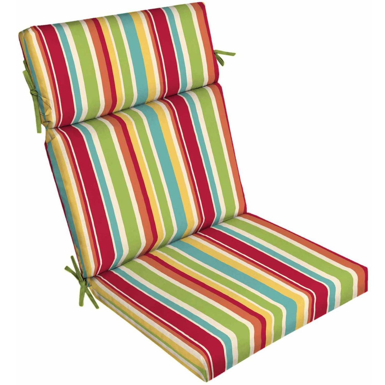 Mainstays Outdoor Patio Dining Chair Cushion Multi Stripe