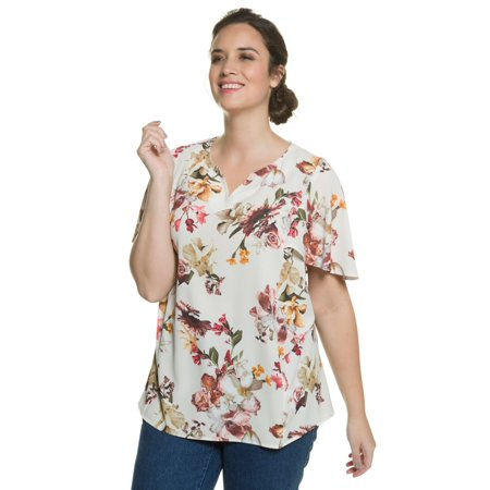 38768477176 Ulla Popken Women s Plus Size Feminine Floral Print Blouse 709339 ...