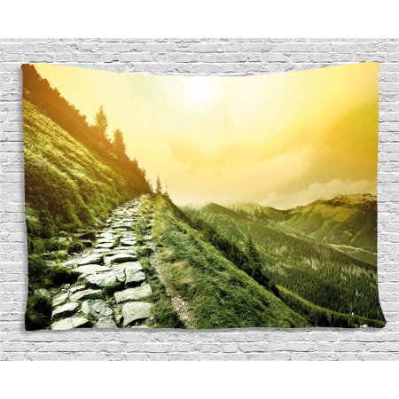 Inspirational Tapestry  Mountain Valley Path Of Life Alone Zen Dawn Summer Landscape  Wall Hanging For Bedroom Living Room Dorm Decor  80W X 60L Inches  Olive Green Light Yellow  By Ambesonne