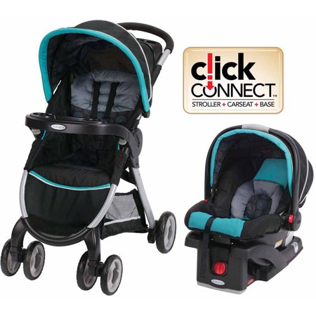 Graco FastAction Fold Click Connect Travel System, Car Seat Stroller Combo, Bristol